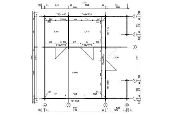Artybel-Casas-de-Madera-45mm-Padova-A-44-ISO-02